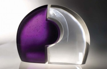 'Clear Distortion', 2009, cast optical glass, polished curved surfaces, 55 x 65 x 10 cm